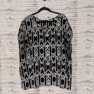 Forever 21 Aztec Sheer top SZ:3X cap sleeve black
